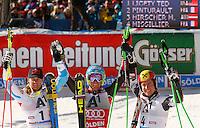 SOELDEN, AUSTRIA, 27.10.2013 - COPA DO MUNDO DE ESQUI ALPINO -  Ted Ligety (C) dos Estados Unidos comemora apos vitoriadurante execução do Audi FIS Copa do Mundo de Esqui Alpino, corrida de slalom gigante em Soelden na Austria , neste domingo, 27. (Foto: Primoz Jeroncic / Pixathlon / Brazil Photo Press).