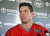 Bryce Petty #9 of the New York Jets speaks with the media after the first team practice of training camp at the Atlantic Health Jets Training Center in Florham Park, NJ on Saturday, July 29, 2017.