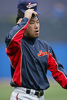 Ryoji Aikawa of Japan during World Baseball Championship at Petco Park in San Diego,California on March 20, 2006. Photo by Larry Goren/Four Seam Images
