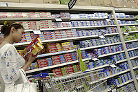 Colgate and Grest toothpaste in the first supercenter of Wal-Mart in Beijing, China..18 May 2005