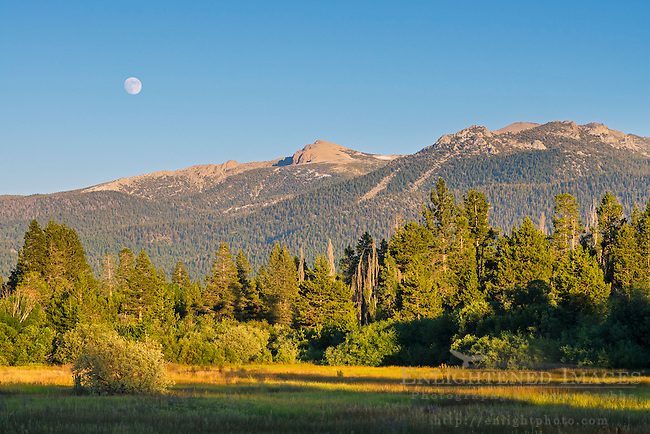 Moon over Freel Peak in the Carson Range Mountains, near Lake Tahoe, California