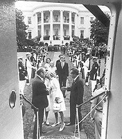 Richard Nixon departing the White House after resigning. Oliver F. Atkins, August 9, 1974.<br /> <br /> Credit: Nixon Presidential Materials Project.