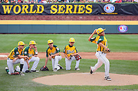WILLIAMSPORT, PA - AUGUST 25. Players of the West team from Petaluma, California watch their relief pitcher warm-up during the United States Championship game of the Little League World Series at Lamade Stadium on Saturday, August 25, 2012 in Williamsport, PA. (Photo by Hunter Martin/MLB Photos via Getty Images) ***Local Caption***