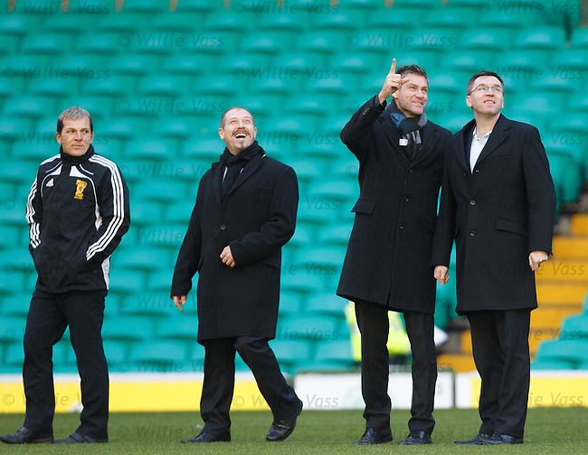 Luxembourg referee Alain Hamer pionting to the stands at Celtic park with linesmen Francios Mangen, Christian Holtgen and Scots fourth official Stephen Allan