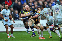 Matt Garvey of Bath Rugby takes on the Worcester Warriors defence. Aviva Premiership match, between Bath Rugby and Worcester Warriors on December 27, 2015 at the Recreation Ground in Bath, England. Photo by: Patrick Khachfe / Onside Images