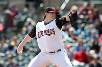 Rochester Red Wings starting pitcher Eric Hacker #17 delivers a pitch during a game against the Toledo Mudhens at Frontier Field on June 2, 2011 in Rochester, New York.  Rochester defeated Toledo 8-0.  Photo By Mike Janes/Four Seam Images