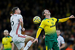 Chris Basham (L) of Sheffield United and Kenny McLean of Norwich City battle for the ball during the Premier League match at Carrow Road, Norwich. Picture date: 8th December 2019. Picture credit should read: James Wilson/Sportimage