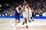 Trey Thompkins of Real Madrid and Pierre Oriola of FC Barcelona Lassa during Turkish Airlines Euroleague match between Real Madrid and FC Barcelona Lassa at Wizink Center in Madrid, Spain. December 13, 2018. (ALTERPHOTOS/Borja B.Hojas)