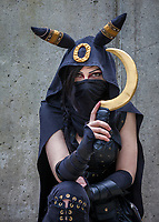 Black Masked Female Assassin, Sakura Con 2017, Seattle, Washington, USA.