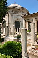 Islamic tomb stones in a Fatih cemetery, Istanbul Turkey
