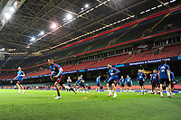 Spain's Thiago (L) during the pre-International Friendly training session of the Spain squad at the Principality Stadium, Cardiff, UK. Wednesday 10 October 2018