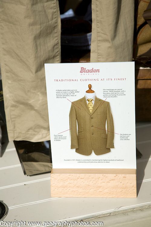 Advert for Bladen traditional clothing in shop window