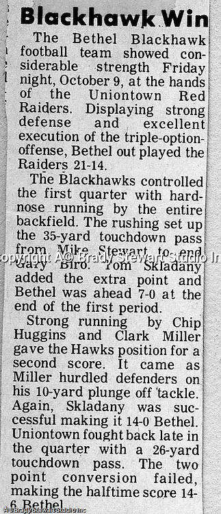 Uniontown PA:  Bethel Park went 65 yards in the final minute to win the game 21-14.  Clark Miller raced 6 yards for the final and winning score.<br />
