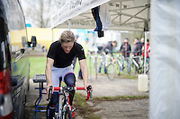 Katherine 'Katie' Compton (USA/Trek) warming up<br /> <br /> Koksijde CX World Cup 2014
