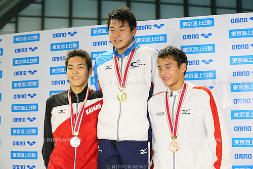 (L to R) <br /> Taishin Minamide, <br /> Hikaru Matsumoto, <br /> Shingo Nakaya, <br /> MARCH 29, 2015 - Swimming : <br /> The 37th JOC Junior Olympic Cup <br /> Men's 1500m Freestyle <br /> champion ship award ceremony <br /> at Tatsumi International Swimming Pool, Tokyo, Japan. <br /> (Photo by YUTAKA/AFLO SPORT)