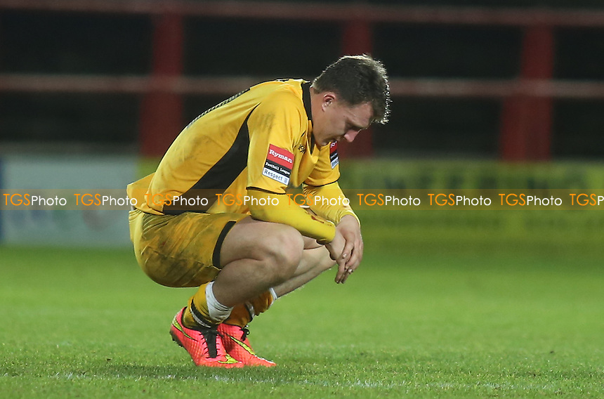 Maidstone's Alex Flisher was distraught at the end of the match  - Wrexham vs Maidstone United - FA Challenge Cup 2nd Round Football at the Racecourse Ground, Wrexham, Wales - 06/12/14 - MANDATORY CREDIT: Paul Dennis/TGSPHOTO - Self billing applies where appropriate - contact@tgsphoto.co.uk - NO UNPAID USE