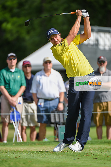 Peter Uihlein (USA) watches his tee shot on 3 during round 3 of the 2019 Charles Schwab Challenge, Colonial Country Club, Ft. Worth, Texas,  USA. 5/25/2019.<br /> Picture: Golffile | Ken Murray<br /> <br /> All photo usage must carry mandatory copyright credit (© Golffile | Ken Murray)