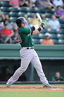 Second baseman Jeremy Sy (25) of the Augusta GreenJackets bats in a game against the Greenville Drive on Friday, July 11, 2014, at Fluor Field at the West End in Greenville, South Carolina. Greenville won, 7-6. (Tom Priddy/Four Seam Images)