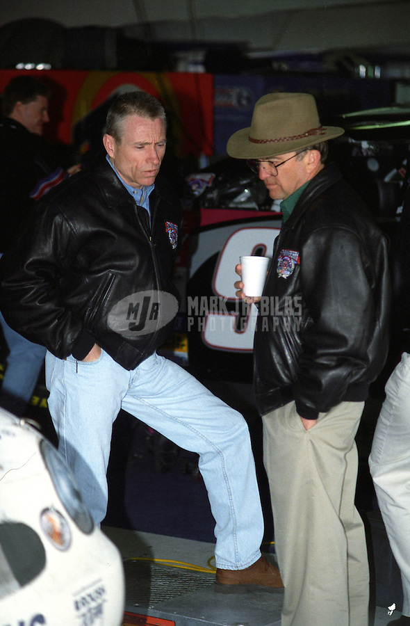 Feb. 15, 1998; Daytona Beach, FL, USA; NASCAR Winston Cup Series driver Mark Martin (left) talks with team owner Jack Roush during the Daytona 500 at the Daytona International Speedway. Mandatory Credit: Mark J. Rebilas-