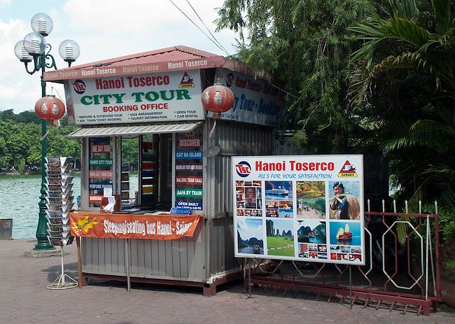 Hanoi, Vietnam, A City Tour tourism booth located along Hoan Kiem Lake. photo taken July 2008.