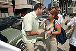 Bosnia and Herzegowina / Sarajevo -09 July 2002--The European Youth Forum tries to bring Balkan youths closer to each other. Renato ZRNIC from Sarajevo (L) saying bye bye to Donika GODAJ from Albania.-- PHOTO: JUHA ROININEN / EUP-IMAGES