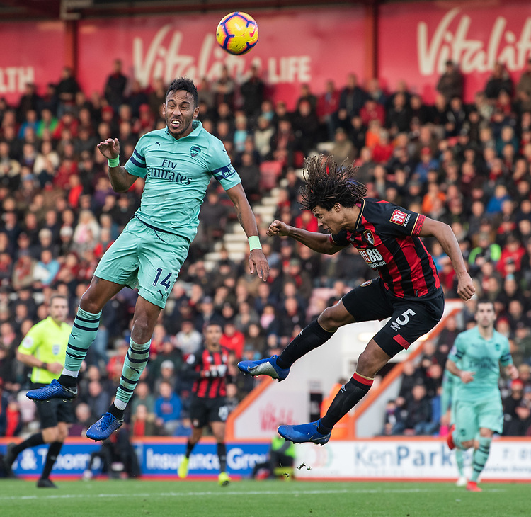 Bournemouth's Nathan Ake (right) battles with Arsenal's Pierre-Emerick Aubameyang (left) <br /> <br /> Photographer David Horton/CameraSport<br /> <br /> The Premier League - Bournemouth v Arsenal - Sunday 25th November 2018 - Vitality Stadium - Bournemouth<br /> <br /> World Copyright © 2018 CameraSport. All rights reserved. 43 Linden Ave. Countesthorpe. Leicester. England. LE8 5PG - Tel: +44 (0) 116 277 4147 - admin@camerasport.com - www.camerasport.com