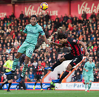 Bournemouth's Nathan Ake (right) battles with Arsenal's Pierre-Emerick Aubameyang (left) <br /> <br /> Photographer David Horton/CameraSport<br /> <br /> The Premier League - Bournemouth v Arsenal - Sunday 25th November 2018 - Vitality Stadium - Bournemouth<br /> <br /> World Copyright &copy; 2018 CameraSport. All rights reserved. 43 Linden Ave. Countesthorpe. Leicester. England. LE8 5PG - Tel: +44 (0) 116 277 4147 - admin@camerasport.com - www.camerasport.com