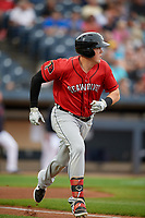 Erie SeaWolves Josh Lester (17) runs to first base during an Eastern League game against the Akron RubberDucks on August 30, 2019 at Canal Park in Akron, Ohio.  Erie defeated Akron 3-2.  (Mike Janes/Four Seam Images)