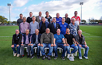 The 1993 Horowhenua team pose for a reunion team photo after the Heartland Championship rugby match between Horowhenua Kapiti and Wairarapa Bush at Levin Domain in Levin, New Zealand on Saturday, 22 September 2018. Photo: Dave Lintott / lintottphoto.co.nz