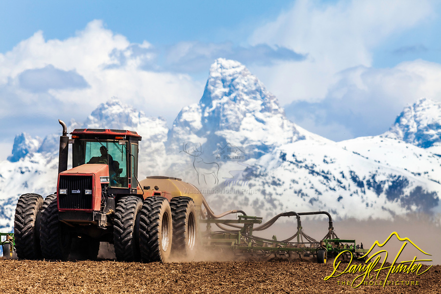 farming in Teton Valley Idaho below the Grand Tetons