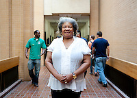 Burlyce Sherrell Logan (cq), a 73-year old woman who is graduating from the University of North Texas, on campus at the University of North Texas in Denton, Texas, Friday, May 6, 2011. Burlyce first attended the university in 1956, as part of.the group of African-Americans who were integrating it, but the atmosphere was so hostile she dropped out...Photo by Matt Nager