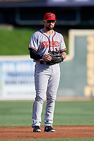 Richmond Flying Squirrels third baseman Dillon Dobson (28) during a game against the Altoona Curve on May 15, 2018 at Peoples Natural Gas Field in Altoona, Pennsylvania.  Altoona defeated Richmond 5-1.  (Mike Janes/Four Seam Images)