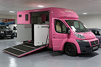 Pictured: The pink Fiat Ducato horsebox once owned by tv personality Katie Price.<br /> Re: A pink horsebox owned by Katie Price is up for grabs at auction after failing to sell on eBay.<br /> The 2012 registered Fiat Ducato is instead listed on the John Pye online auction site and is now at the company's depot in Port Talbot, south Wales.<br /> The vehicle has only covered 7,000 miles, with additional features EQUI-TREK SUPER SONIC HORSE BOX CARRIER.<br /> Previously owned by Model/TV celebrity Katie Price<br /> 3.5 t finished paint work in Pink by Kahn.<br /> 2 Horse carrier.<br /> Cream Leather interior.<br /> Tachograph.<br /> Aircon.<br /> Grooms Locker.<br /> Extra height partition.<br /> Skylight Roof Vent.<br /> Internal Lighting.<br /> Tinted windows.<br /> Tie Rings on external.<br /> Internal and rear reversing cameras.<br /> wireless camera system with 7&rdquo; screen
