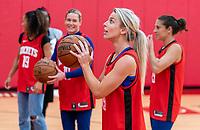 HOUSTON, TX - FEBRUARY 1: Julie Ertz #8 of the United States takes a shot at Houston Rockets Training Center on February 1, 2020 in Houston, Texas.
