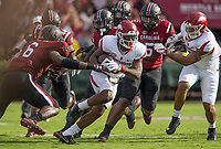 Hawgs Illustrated/BEN GOFF <br /> T.J. Hammonds, Arkansas wide receiver, breaks the tackle of T.J. Brunson, South Carolina linebacker, on a carry in the first quarter Saturday, Oct. 7, 2017, during the game at Williams-Brice Stadium in Columbia, S.C.