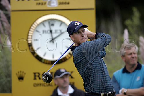 20 September 2006: European player Henrik Stenson watches his drive from the 16th Tee during practice for The 2006 Ryder Cup played at The K Club, Straffan, County Kildare, Ireland. Photo: Glyn Kirk/Actionplus....060920 golf golfer