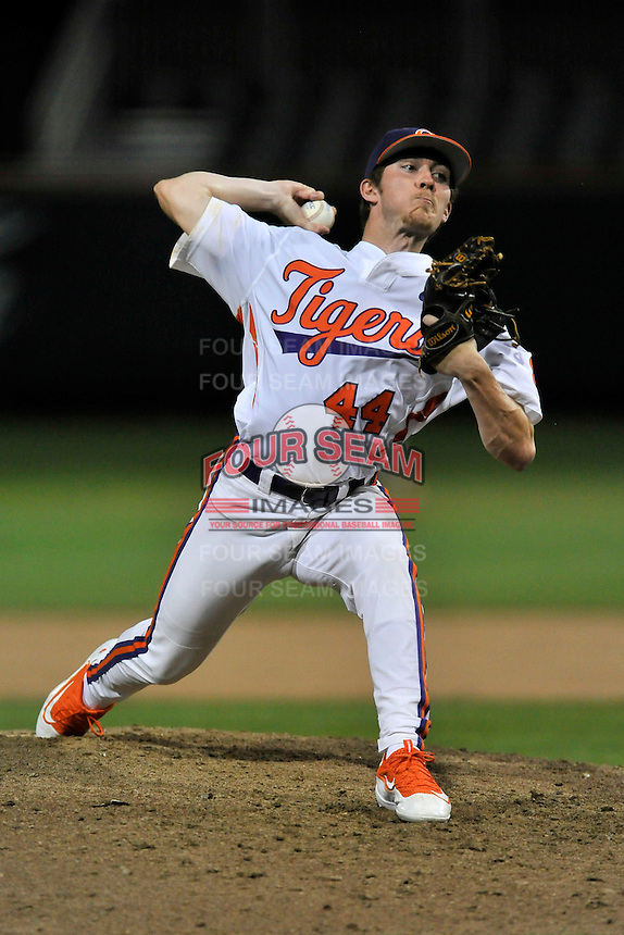 Pitcher Ryley Gilliam (44) of the Clemson University Tigers delivers a pitch in a game against the Wofford College Terriers on Tuesday, March 1, 2016, at Doug Kingsmore Stadium in Clemson, South Carolina. Clemson won, 7-0. (Tom Priddy/Four Seam Images)
