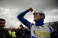 race winner Jelle Wallays (BEL/Topsport Vlaanderen-Baloise) after finishing<br /> <br /> 70th Dwars Door Vlaanderen 2015