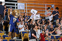 12 January 2012:  FIU fans, together with FIU's mascot, Roary, cheer on their team in the first half as the Middle Tennessee State University Blue Raiders defeated the FIU Golden Panthers, 74-60, at the U.S. Century Bank Arena in Miami, Florida.