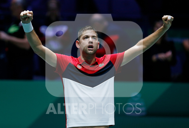 Filip Krajinovic of Serbia celebrates victory after his singles match against against Jo-Wilfried Tsonga of France during Day 4 of the 2019 Davis Cup at La Caja Magica on November 21, 2019 in Madrid, Spain. (ALTERPHOTOS/Manu R.B.)