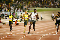 Usain Bolt winning the 100m in a World Leading time of 9.76sec. at the Jamaica International Meet on Saturday, May 3rd. 2008. Photo by Errol Anderson, The Sporting Image