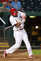 Luis Mateo (26) of the Springfield Cardinals swings at a pitch during a game against the Northwest Arkansas Naturals at Hammons Field on August 20, 2013 in Springfield, Missouri. (David Welker/Four Seam Images)