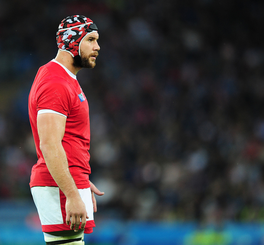 Canada's Jebb Sinclair<br /> <br /> Photographer Chris Vaughan/CameraSport<br /> <br /> Rugby Union - 2015 Rugby World Cup Pool D - Canada v Romania - Tuesday 6th October 2015 - King Power Stadium, Leicester <br /> <br /> &copy; CameraSport - 43 Linden Ave. Countesthorpe. Leicester. England. LE8 5PG - Tel: +44 (0) 116 277 4147 - admin@camerasport.com - www.camerasport.com