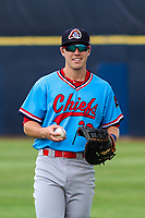 Peoria Chiefs first baseman Zach Kirtley (26) warms up in the outfield prior to a Midwest League game against the Quad Cities River Bandits on May 27, 2018 at Modern Woodmen Park in Davenport, Iowa. Quad Cities defeated Peoria 8-3. (Brad Krause/Four Seam Images)