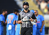 8th February 2019, Eden Park, Auckland, New Zealand;  Daryl Mitchell is given out LBW and heads back to the dressing room.<br />
