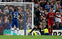 Michy Batshuayi of Chelsea heads wide with only the keeper to beat during the Premier League match between Chelsea and Liverpool at Stamford Bridge, London, England on 22 September 2019. Photo by Liam McAvoy / PRiME Media Images.