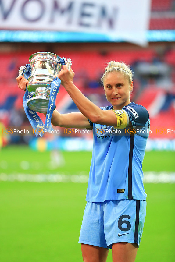 Steph Houghton of Manchester City Women holds aloft the FA Women's Cup. Birmingham City Ladies vs Manchester City Women, SSE Women's FA Cup Final Football at Wembley Stadium on 13th May 2017