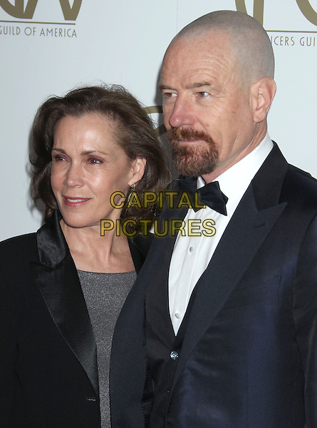 Robin Dearden & Bryan Cranston.At the 24th Annual Producers Guild Awards held at the Beverly Hilton Hotel, Beverly Hills, California, USA,.26th January 2013..PGAs PGA arrivals half length black bow tie tuxedo goatee husband wife married.CAP/ADM/RE.©Russ Elliot/AdMedia/Capital Pictures.