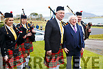 President Michael D.Higgins pauses with members of the Valentia Pipe Band pictured l-r; Chloe Lyne, Amy Lyne, Dermot O'Sullivan & Patrick Lyne.