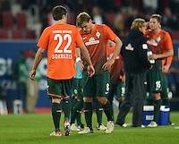 FUSSBALL   1. BUNDESLIGA  SAISON 2012/2013   7. Spieltag FC Augsburg - Werder Bremen          05.10.2012 Sokratis Papastathopoulos , Clemens Fritz (v. li., SV Werder Bremen)